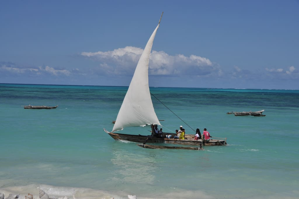 Dhow boat on the ocean.