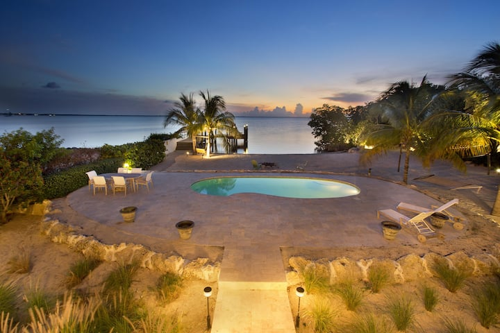 Direct Bay Sunsets, Sandy Beach, Pool, Dock, West Indies Decor