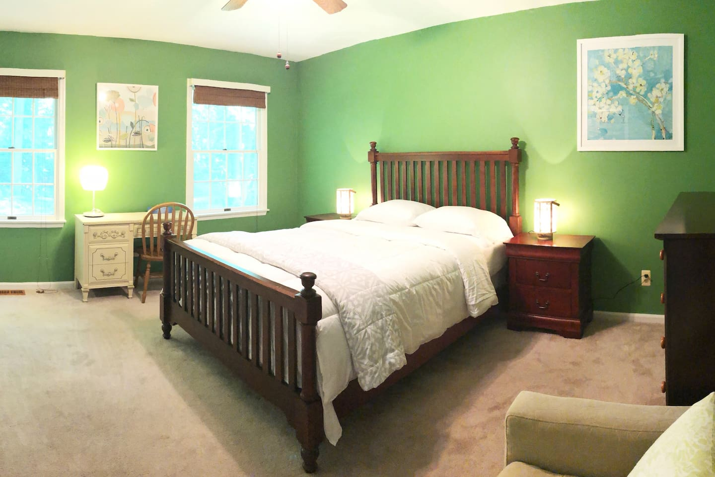 Bright and clean bedroom with queen bed and private full bathroom!
