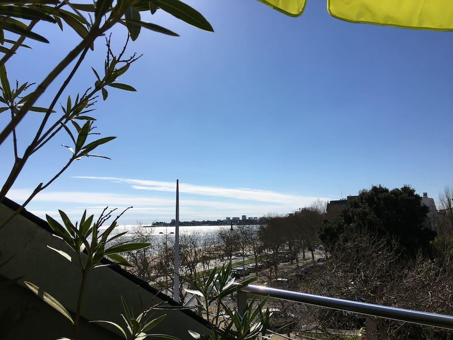 Une vue sur l'océan depuis la terrasse située au niveau haut, appartement à 20M de la plage. L'appartement bénéficie d'une double exposition : soleil le matin et l'après-midi !
