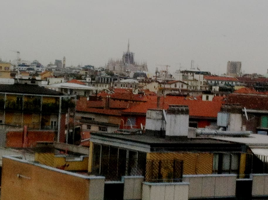 Skyline from the window (Milan's magnificent Gothic cathedral aka Duomo)