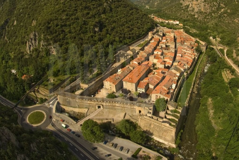 Ariel view of the village, an UNESCO World heritage site and accorded the status of Les Plus Beau Village de France