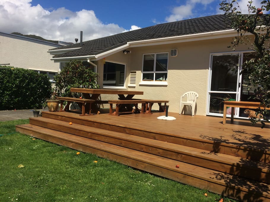 Big sunny, north facing deck with BBQ and big dining table.