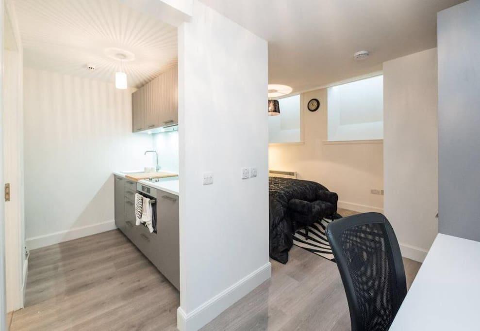Open plan studio for cosy living