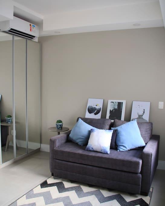 Sofa, wardrobe and A/C