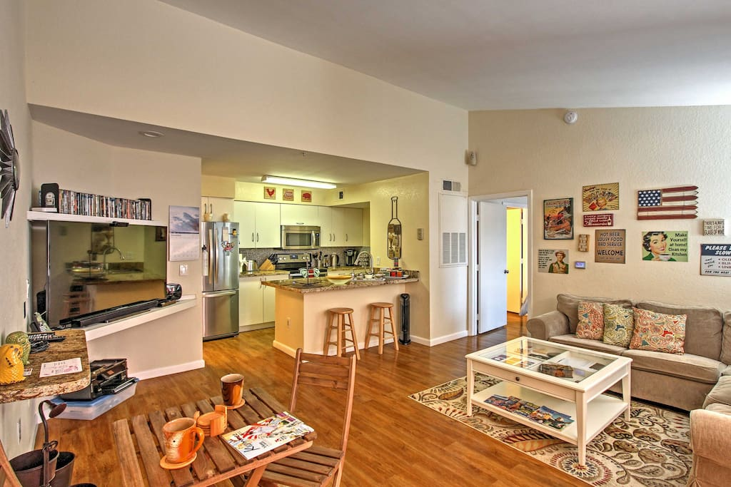 The cozy apartment boasts 1,200 square feet of comfortable living space.
