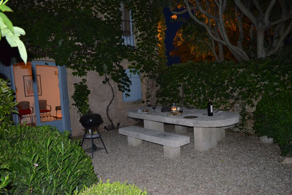 Enchanting courtyard with table