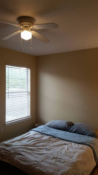 View of room showing ceiling fan.