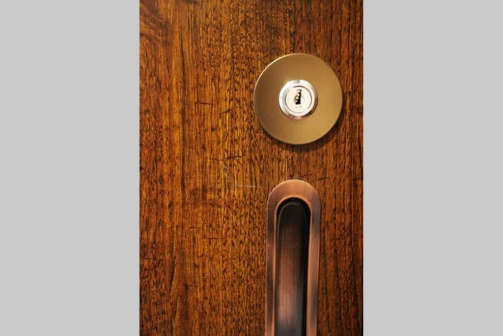 Each room door has a lock.