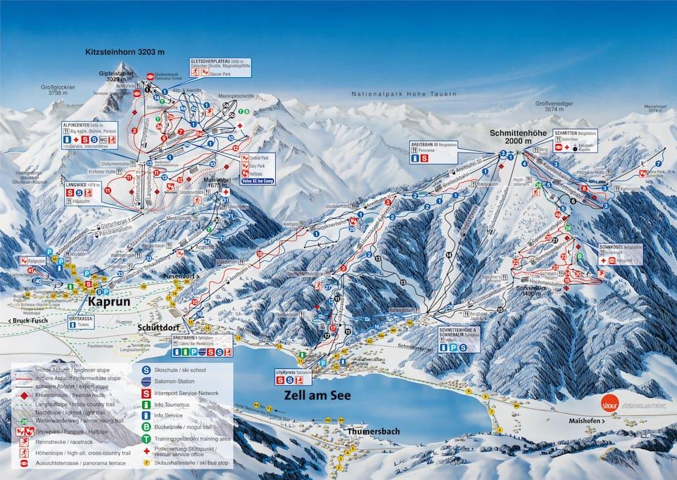 Skiing in Winter/Pistenplan Zell am See