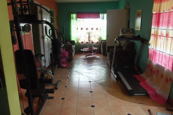 the Gym and back sitting Room