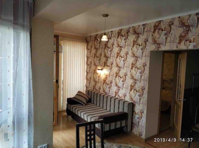 Диван в основной комнате, чуть в отдаление от кухонной зоны, в зоне два балкона, открываются прекрасные виды на горы