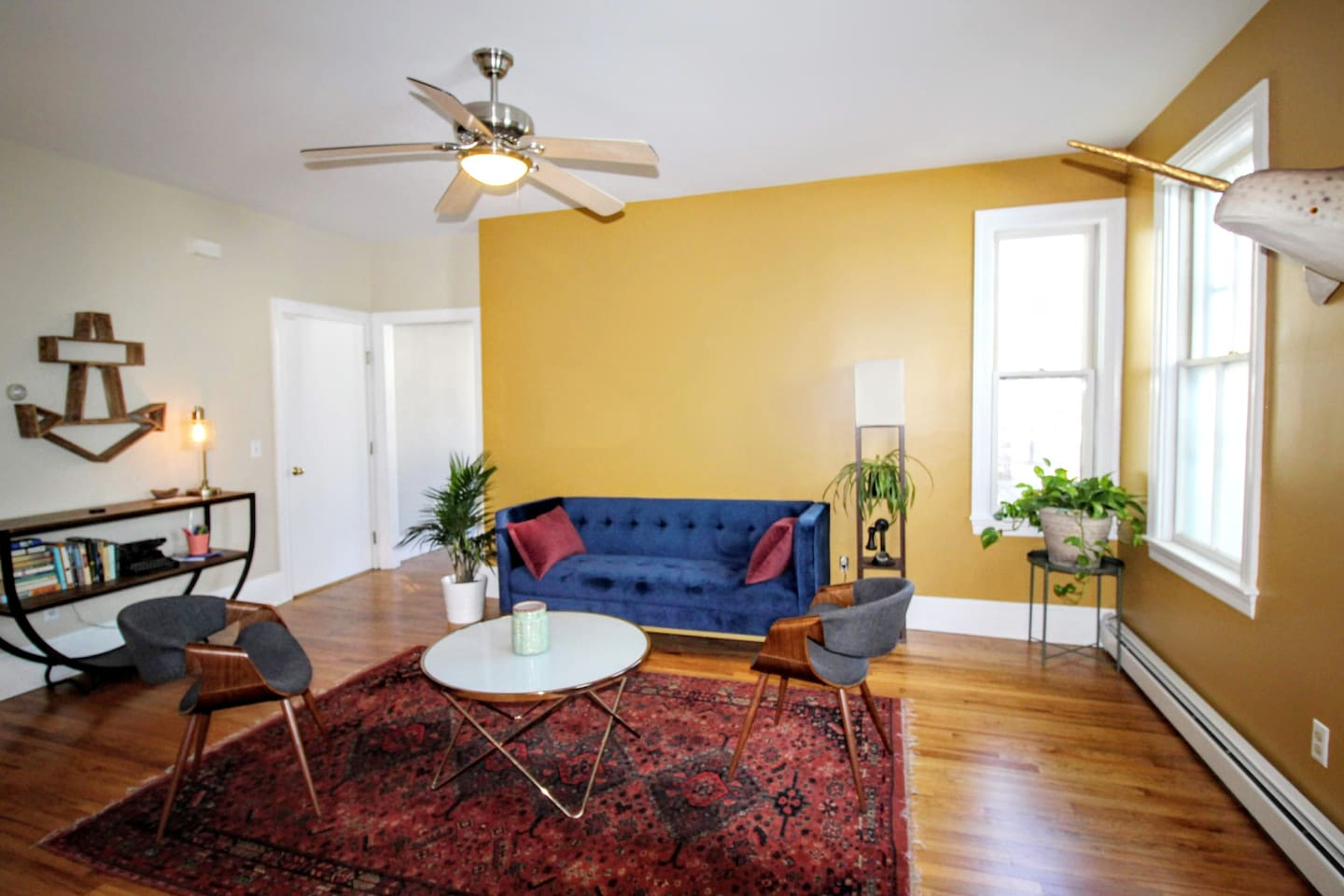 Spacious yet cozy! Relax on the velvet sofa and read a book after exploring all that Providence has to offer.