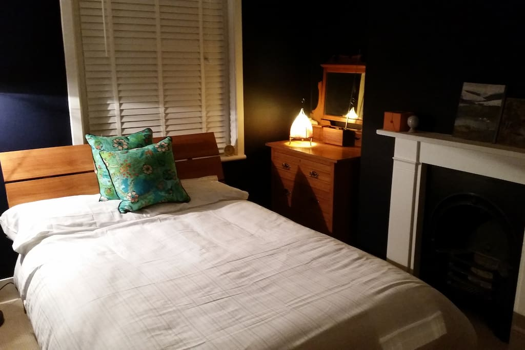 Your private room in Winter with cozy warm duvet. Newly refurbished with original Victorian fireplace