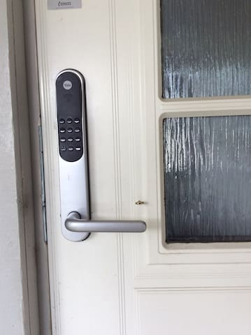 There is a code lock on the door