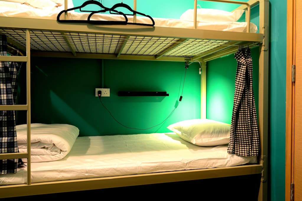 Hangers, bedside lamps & curtain for each bed