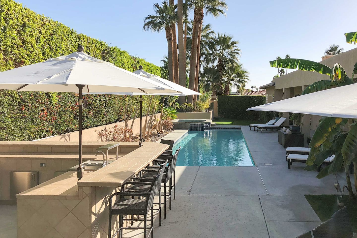 Enjoy a luxury getaway when you stay at this Palm Springs vacation rental house.