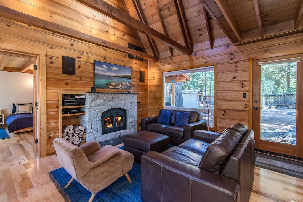 Cuddle up in front of the wood-burning fireplace