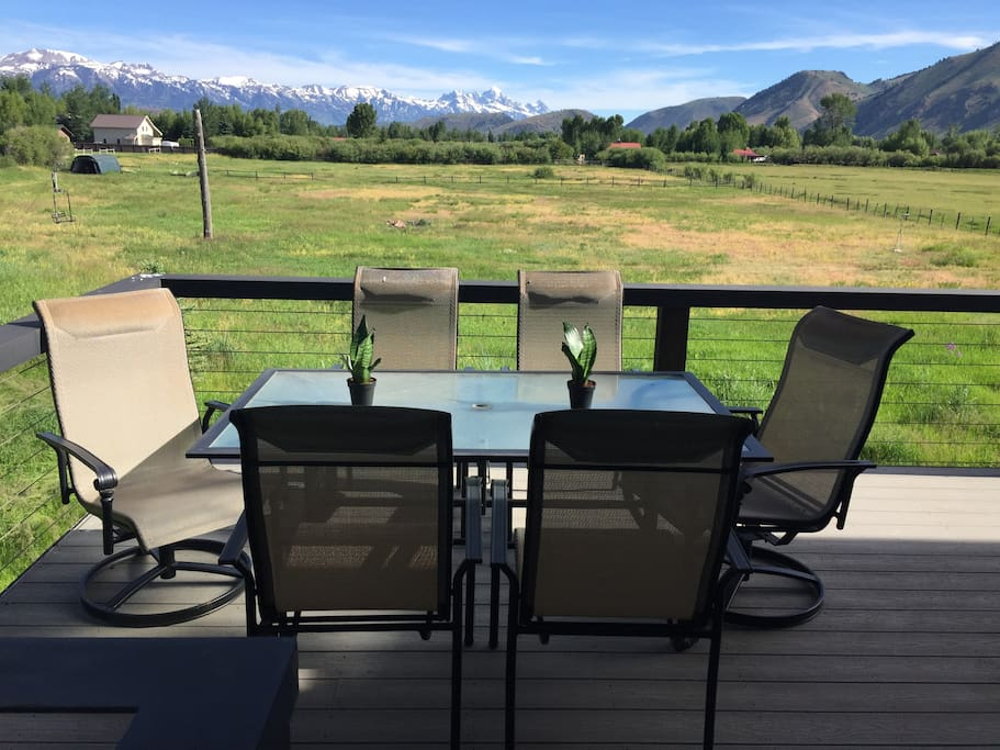 Dining on the deck with Teton views.