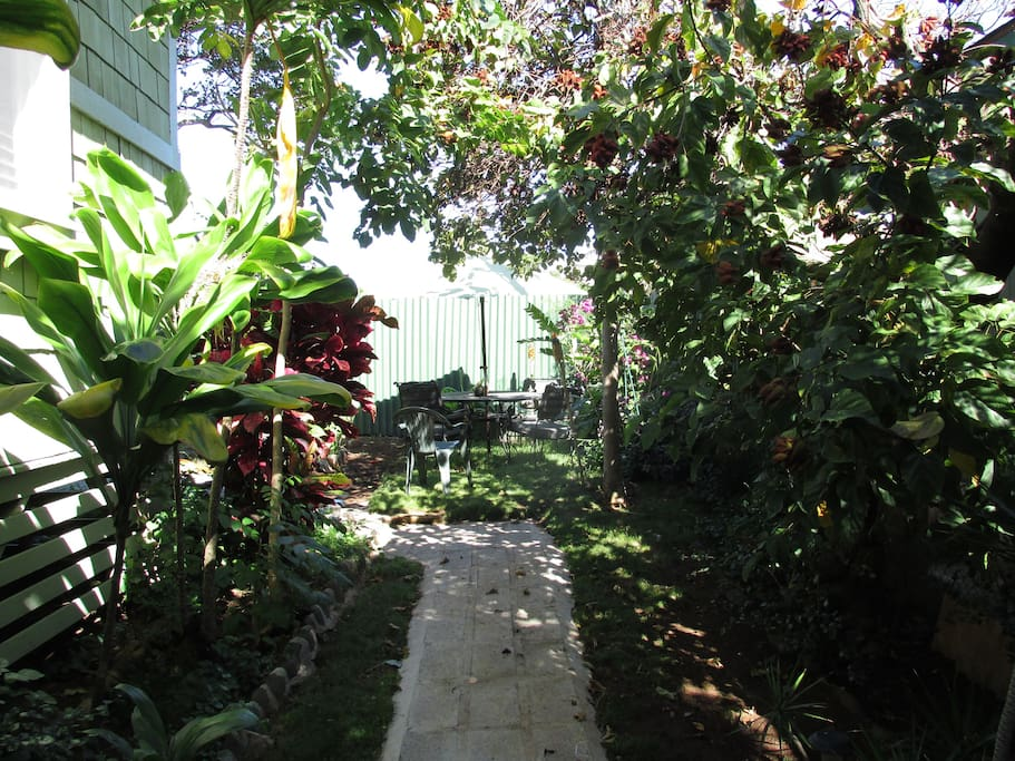 walkway to bungalow.