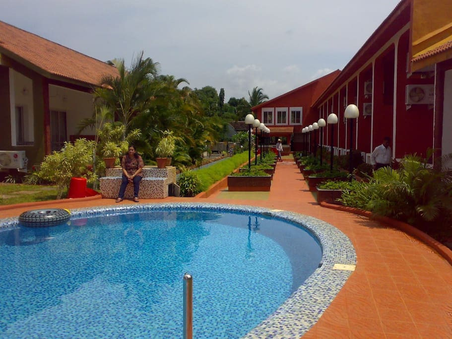 View of the swimming pool from the drawing room area