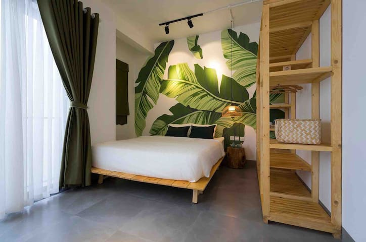 4th bed room with 1 king size bed and small balcony