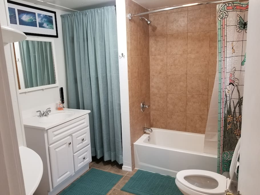 Full bath with tankless hot water.never run out of hot water.