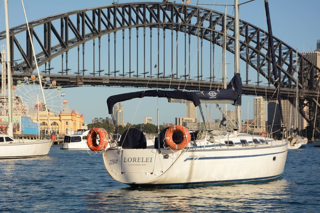 Lorelei is based in Lavender Bay in front of the Sydney Harbour Bridge