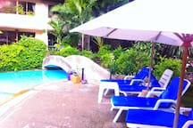 Pool bed and umbrella
