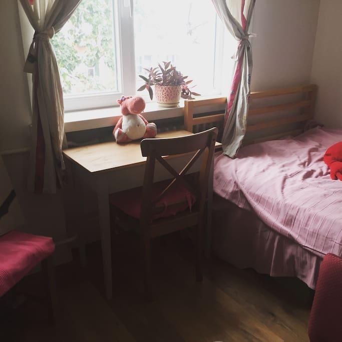 小书桌,可存放私人物品和笔记本电脑。