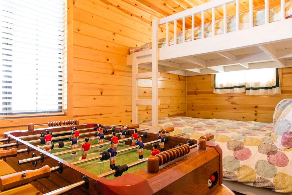 """""""My son enjoyed loved watching a movie from the top bunk in the bedroom and we all enjoyed sitting around the fire on the porch. We would definitely stay here again!"""" - Kelly"""