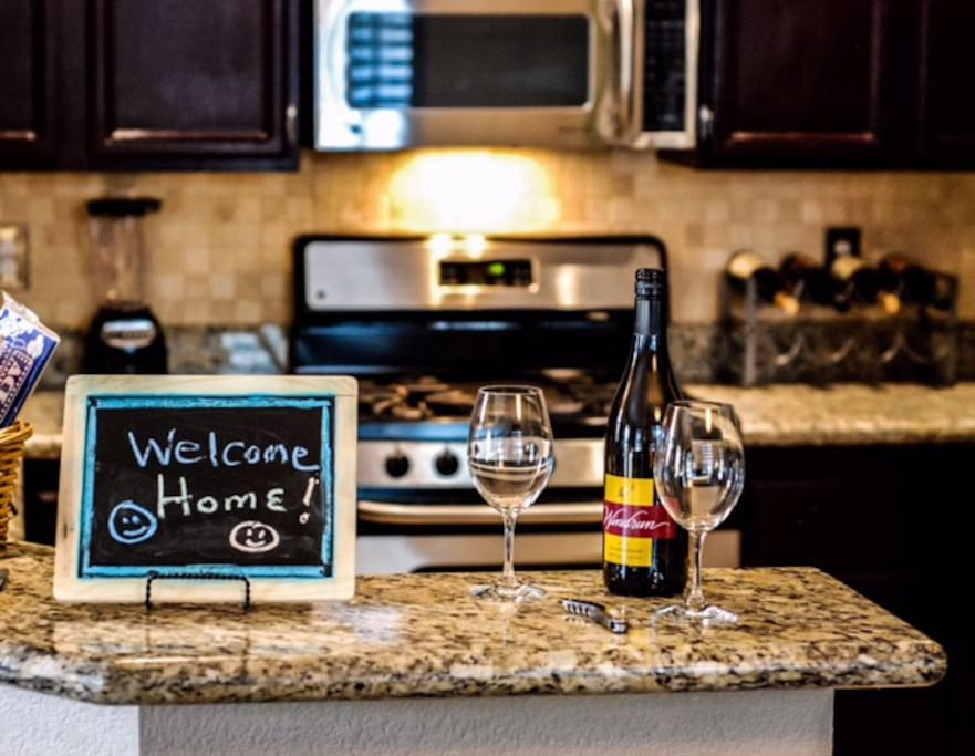 Since the kitchen is the heart of the home, begin your stay with us here, where a complimentary bottle of wine awaits your arrival. Please take a second and sign our guestbook at some point during your stay with us.