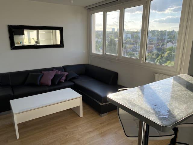 Salon et espace à vivre de 20m2 très lumineux au 8ieme étage avec, chaque soir, son coucher de soleil
