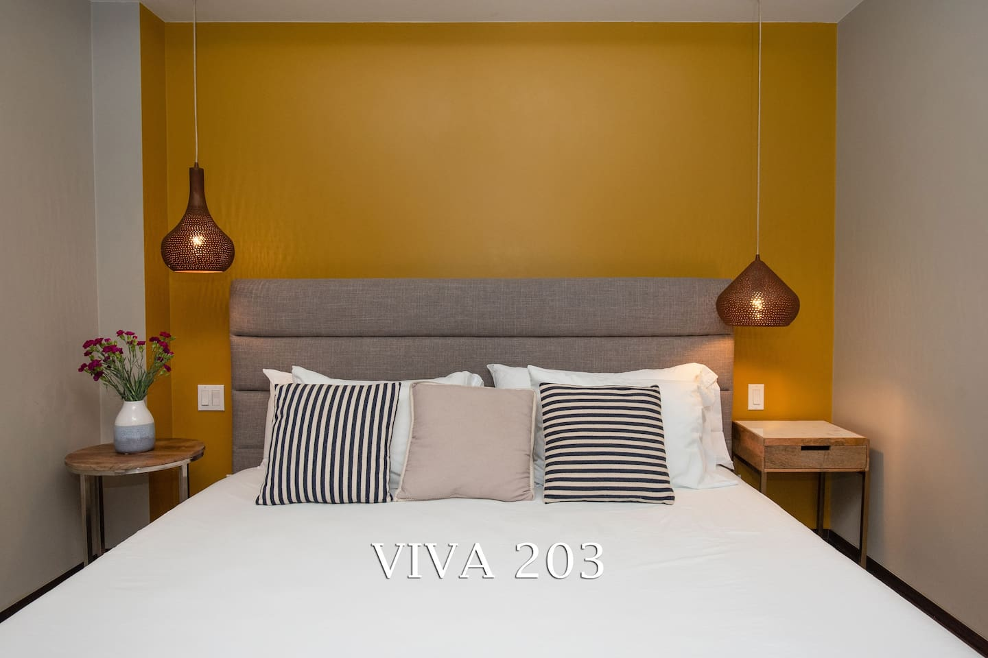 Bedroom in VIVA 203 has a lovely King size bed for a luxury sleep.