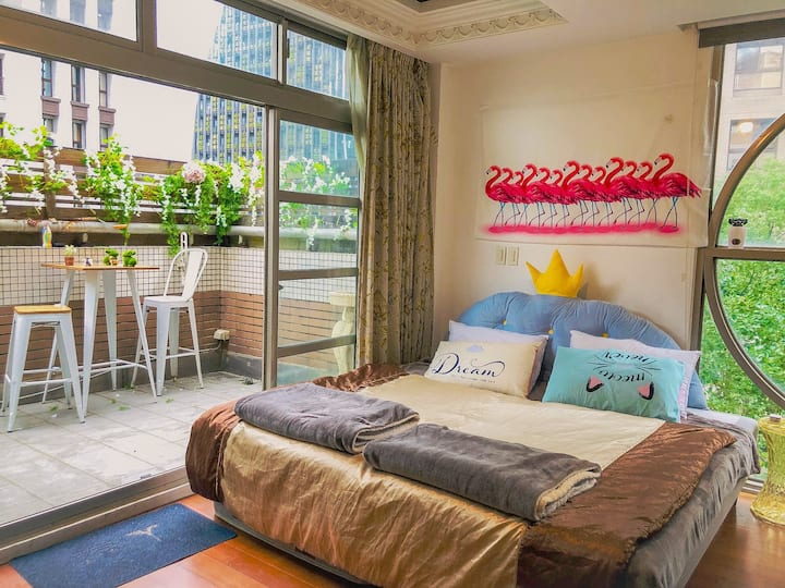 5 mins MRT|Nangang Station|Cozy Balcony Room