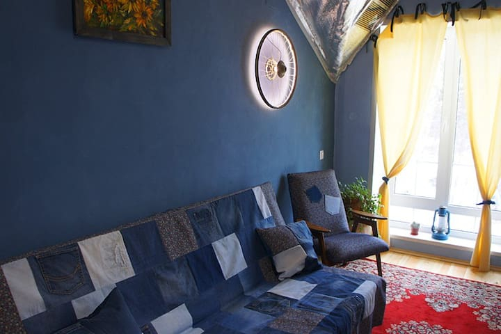 Blue room in the country house of an artist
