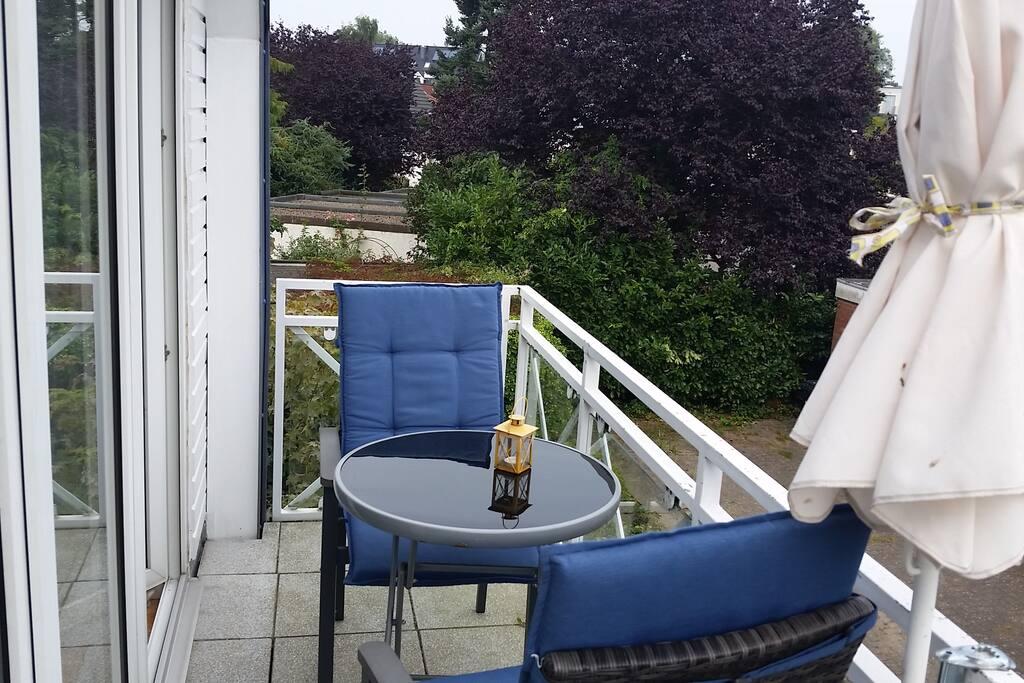 Süd-Ost Balkon mit Blick in die Gärten Richtung Ostsee