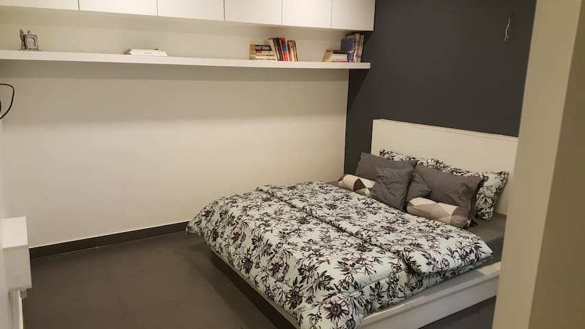 Perfect Bedroom for 2. Including Bed, Side Tables, Complete Wardrobe, Book Shelf, Iron board and storage shelves.