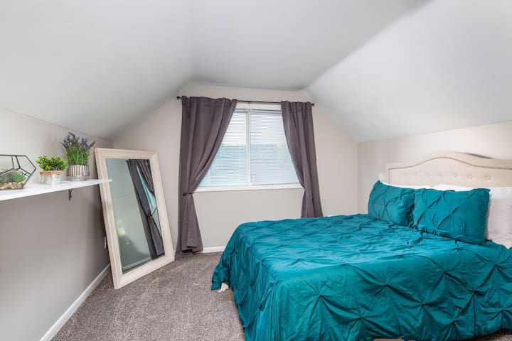 Bedroom upstairs  Queen size bed