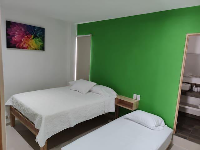 Cuenta está recamara con 1 cama Queen size y 1 cama individual.      Sin preocuparte puedes dormir con la ventana abierta ya que tiene protección de herrería.