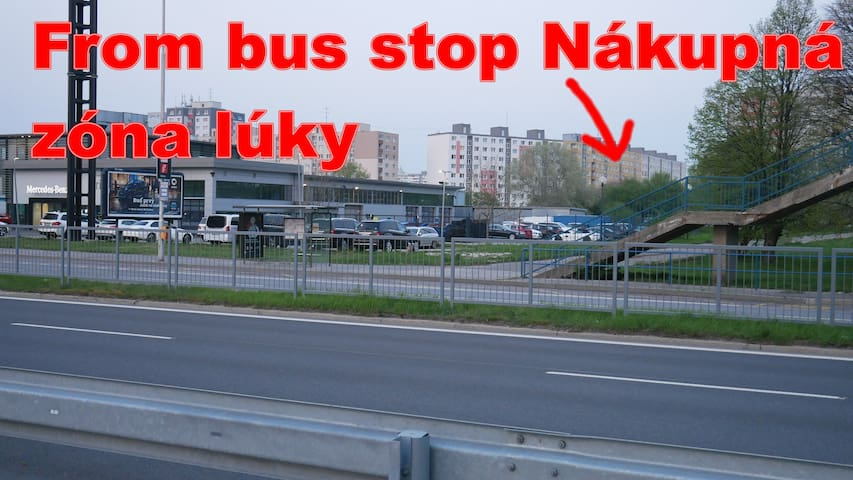 From bus stop Most snp  take bus 91, or 191, get off on bus stop Nákupná zóna lúky. This is the house