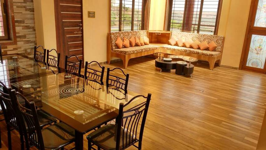 Large living room for family gatherings or corporate events