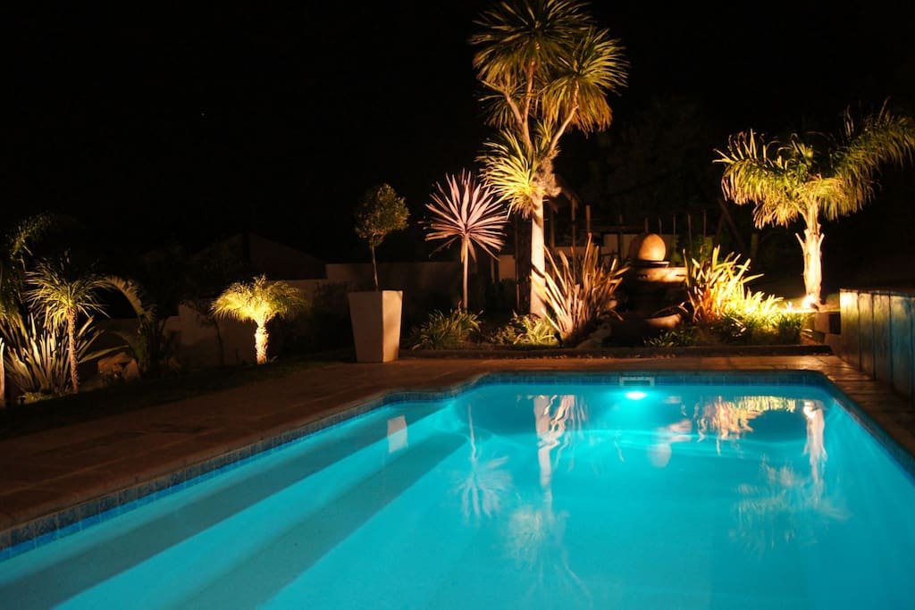 Pool & garden by night