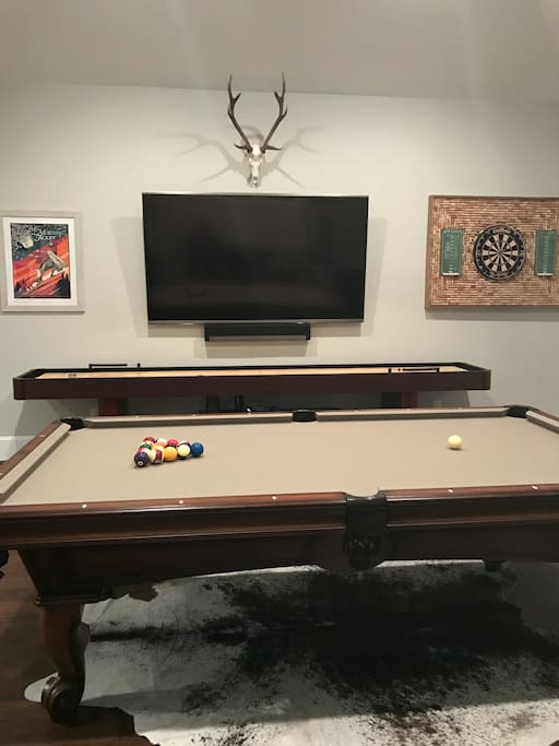 "Upstairs Gameroom with Pool Table, Shuffle Board, Darts, 80"" TV, and Balcony overlooking Pool"