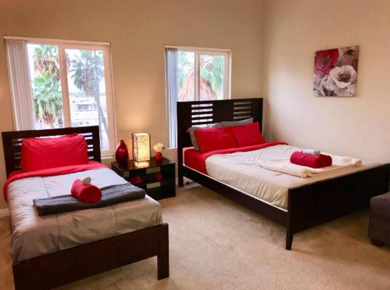 Full and Twin comfortable beds with Pillowtop mattresses.
