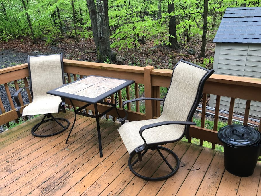 Enjoy some quiet time out front on the deck.
