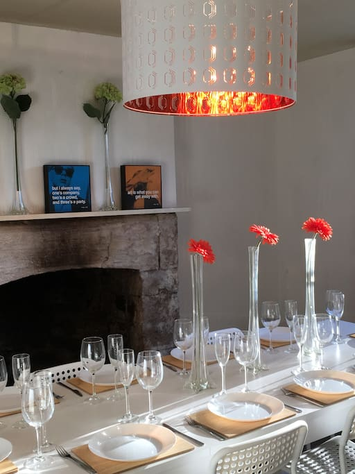 Table seating ten with open fireplace Ask about menus, we'd be delighted to cater your party