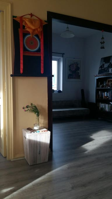 The open room with 1 sofa-bed, bookshelf, window and door to the large balcony.
