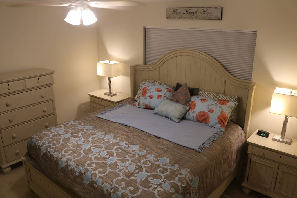 Master bedroom with king bed and all new furnishings