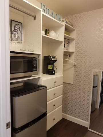 Our Studio has everything you need on vacation: a small fridge and freezer combo with a microwave for leftovers. Our morning beverage set up includes everything you need for coffee or tea. And glassware for happy hour later is also provided.